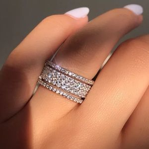 New 925 sterling silver stacked diamond wide ring